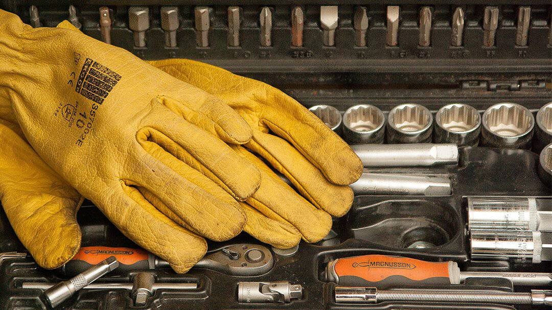 gloves in toolbox